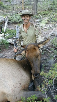 Opening day of archery, Elisha shoots cow elk with bow
